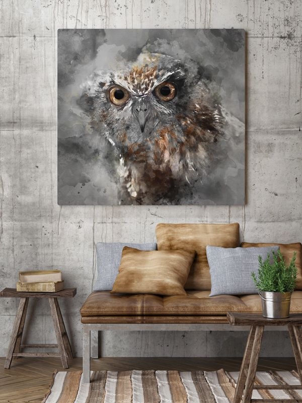 Our Owl on canvas You can buy it - contact us! (created by Hog studio: hogstudio.design@gmail.com) #poster #design #owl #interiors #scandinavian #print #grey