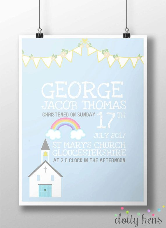 A4 Personalised Christening Print  The perfect gift for a new baby to remember their special day. Includes full name of baby, date, time and location of ceremony.  *Print Only*  Available for baby boy or girl  Please include  -Full Name of Baby -Date and time of Ceremony -Venue location and town  Can also be designed for Naming Ceremonies  Please leave your details attached to a note on your order