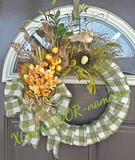 Spring Wreath, Green Wreath, Hydrangea Wreath, Summer Wreath