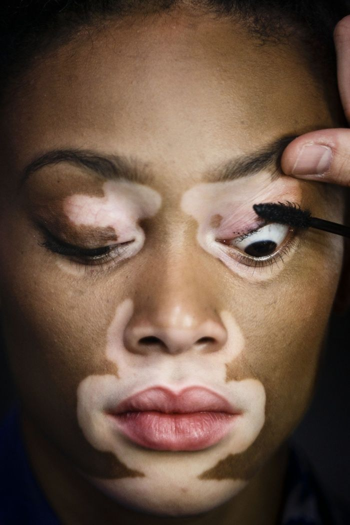 Model Chantelle Brown-Young, known as Winnie Harlow, has her make up done at Madrid Fashion Week