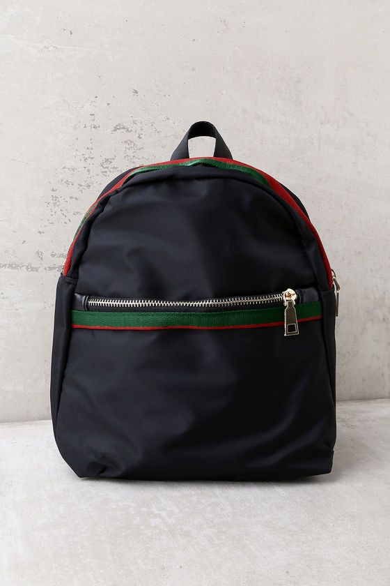 Style Street Black Striped Backpack