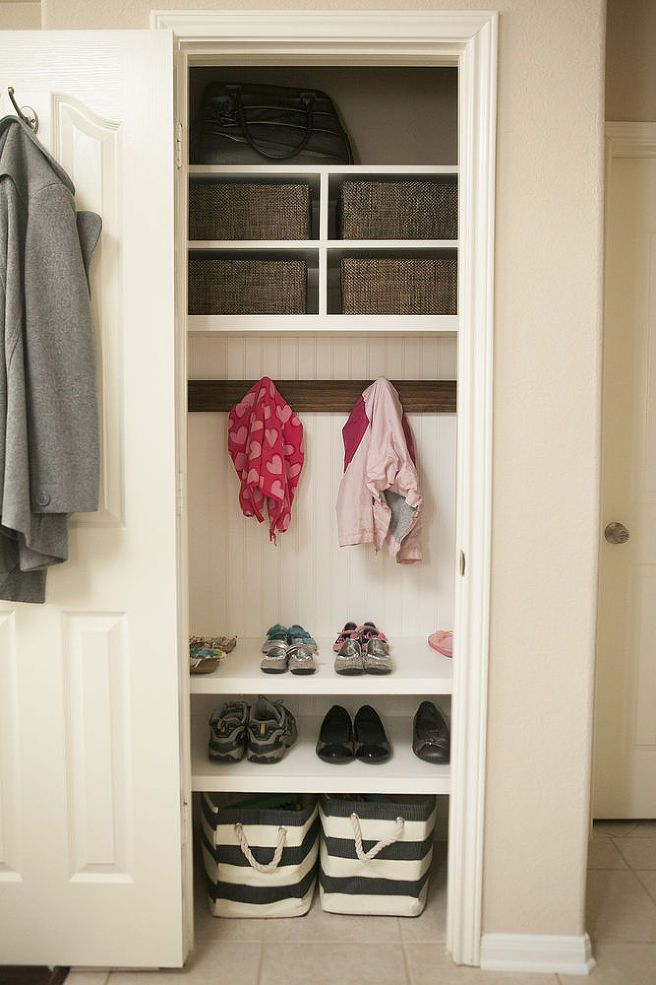Coat Closet/Mini Mudroom - Create a coat closet or mini mudroom with additional shelving and hooks.  Also a great place to store back packs and the everyday ite…