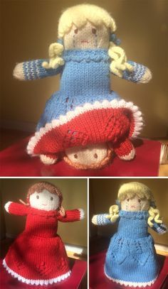 Free Knitting Pattern for Topsy Turvy Doll - This happy-sad flip toy is an adaptation of the pattern from the Bernat Design Studio. Pictured project by tweebot who embroidered the faces with different moods and changed the hair. Clever idea to help children understand and express their feelings.