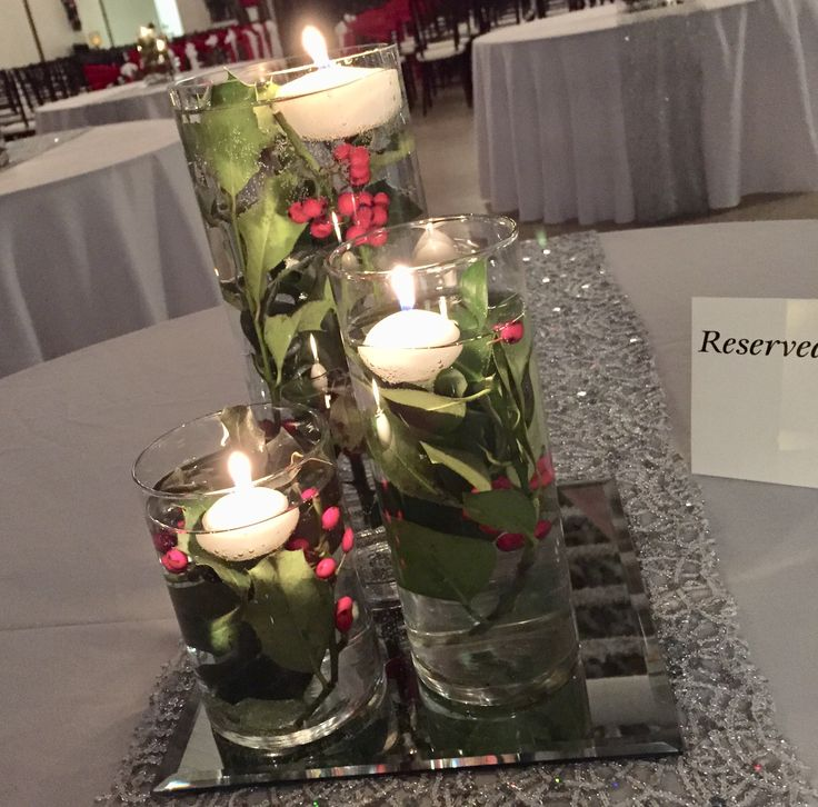DIAMOND - 3 cylinder vases with submersed holly, and floating candles
