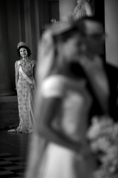 Queen Silvia at the wedding of Princess Victoria and Prince Daniel