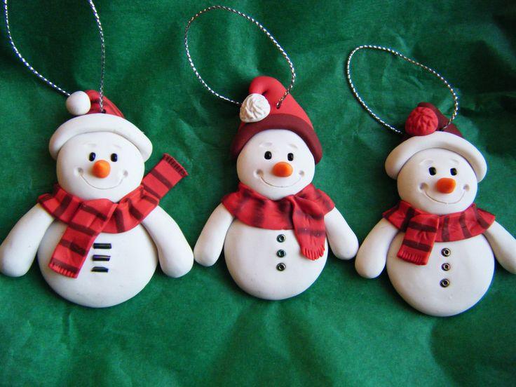 Set Of 3 - Made to Order Handmade Sculpey Clay Snowmen Ornaments (set of 3). $12.50, via Etsy.