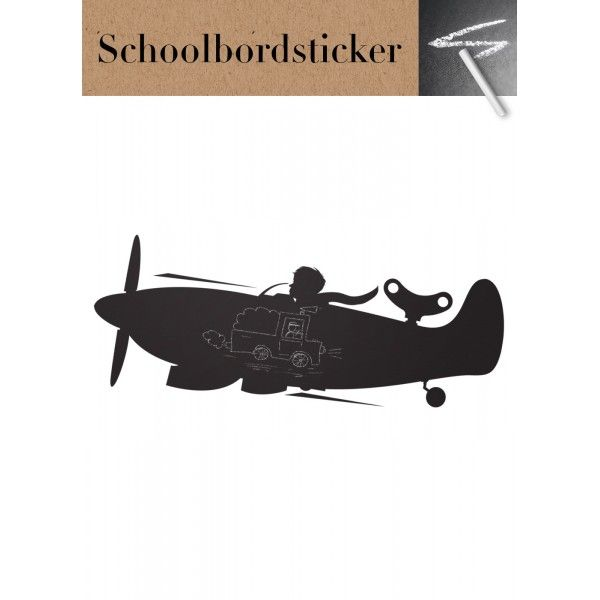 Schoolbordsticker in de vorm van een vliegtuig. Er kan leuk op worden getekend met krijtjes om daarna alles weer af te vegen en opnieuw te beginnen.