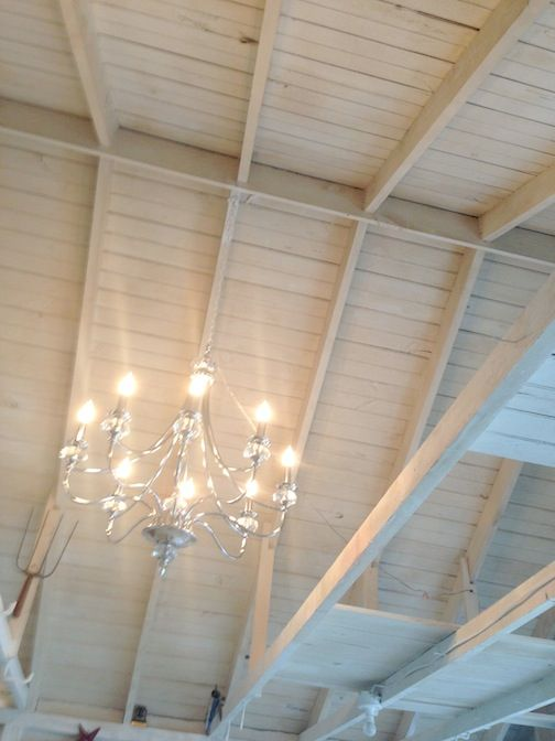 Cathedral Ceiling With Chandelier Garage Makeover Into