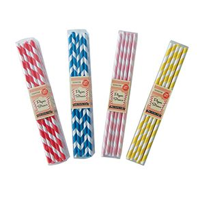 Colourful Stripey Paper Straws