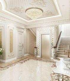 Элитный дизайн проект дома с роскошным холлом в классическом стиле от студии дизайна в Алматы