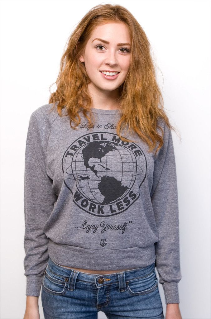 Travel More Long Sleeve Athletic Gray