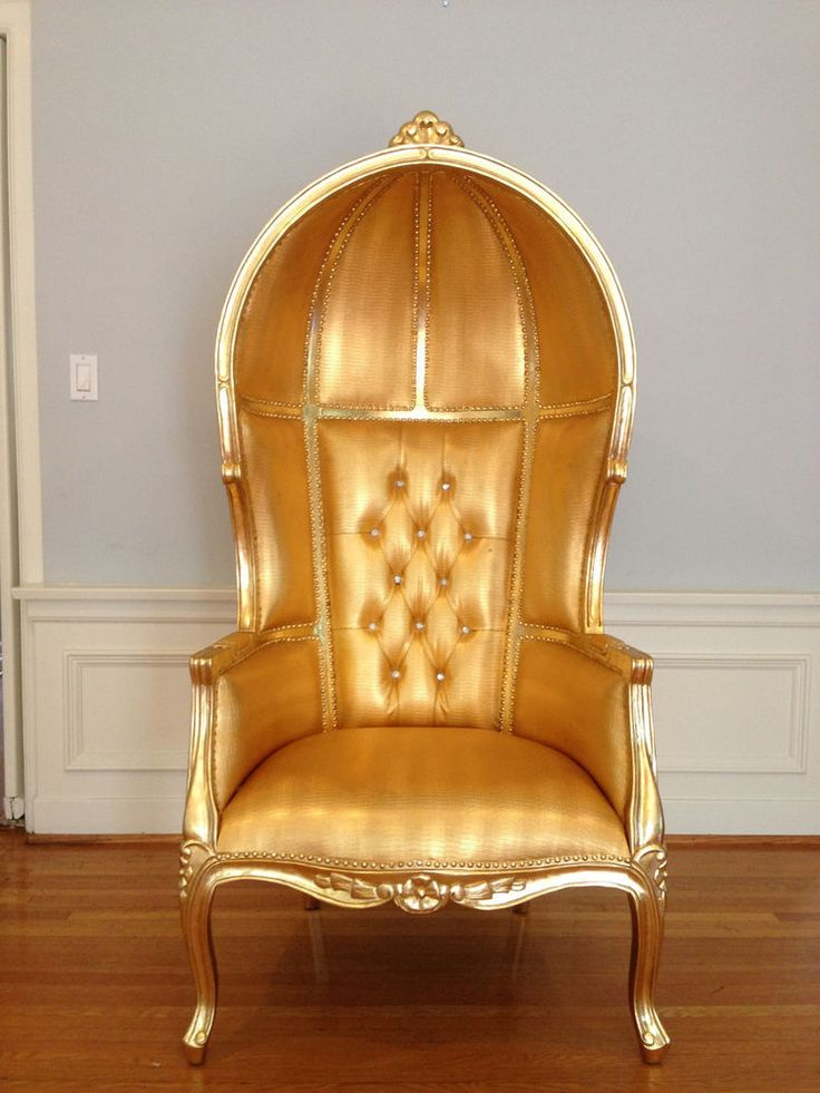 Gold Porter Canopy Umberalla Chair Domed Bonnet Queen King Throne Furniture  Art