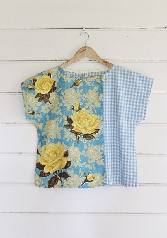 Upcycled Tea Towel Patchwork Women Top Shirt Linen Blue White Seersucker Checks Vintage Rose Floral Shabby Chic Medium Australia