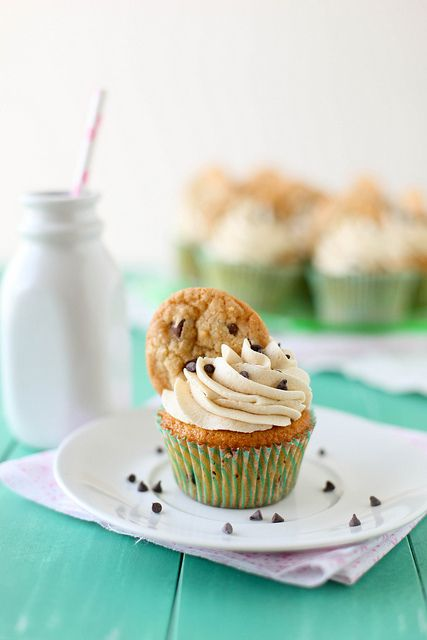 Chocolate Chip Cookie Dough Cupcakes via Annie's Eats