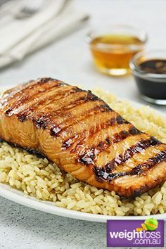Healthy Fish Recipes: Honey Soy Salmon. #HealthyRecipes #DietRecipes #WeightlossRecipes weightloss.com.au