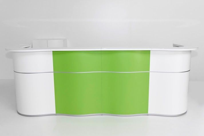 Shaped with simple elegance, our new Wave reception impresses with a subtle ocean wave design expressing a sense of calmness. The white Lacobel glass top with the added decorative strips at the front and bottom, add to its fresh and sleek appeal.  The Wave gracefully adapts to one's individual needs and tastes. For this reason, it is available in a variety of modules and colors. Standard front comes in white, blue, orange and green.