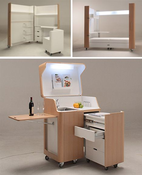Kitchens For Small Apartments Small Modular Kitchens: Rooms On Wheels: Mobile Kitchen, Bedroom & Office Spaces