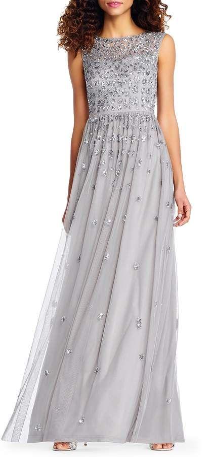 774d54c2dd5b Adrianna Papell Beaded Mesh Long Dress