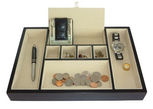 Ebony Valet Tray Desk Dresser Drawer Coin Case Catch-All For Keys, Phone, Jewelry, Watches, And Accessories, 2015 Amazon Top Rated Dresser-Top Organizers #Home