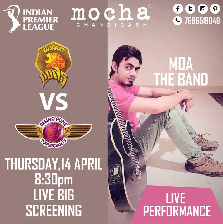 Enjoy Today's IPL Cricket match The Gujarat Lions vs Rising Pune Supergiants  With Live Band Performance of MOA The Band @ Mocha. 14April 2016, Sharp @8.30PM. Reserve your table @ 7696519040. #ipl ChillOut #friends #epic #friends #ipl2016 #support #ipl9 #GameMaariChhe #gettogethers #hangouts #proudToBeALion ImRaina #superGiants #dumKaNayaRang #Aapdi Vaari Chhe #enterainment #goodfood #drinks #goodtimes