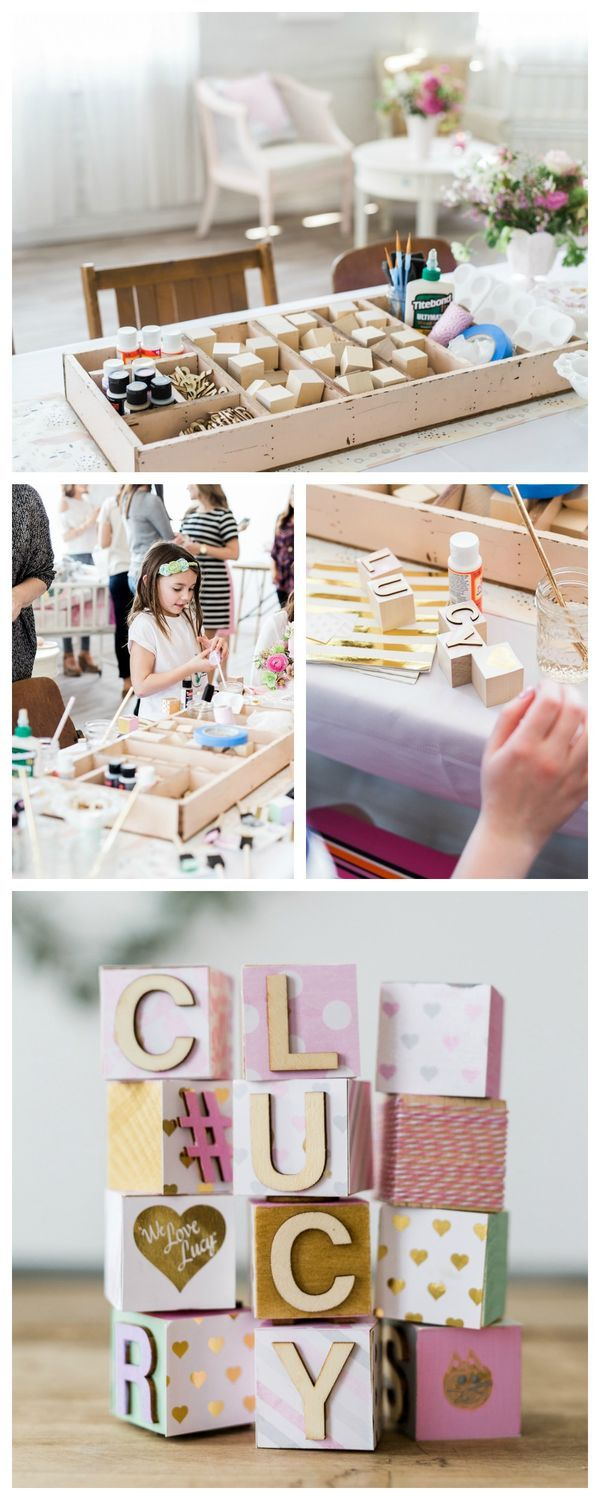 DIY Baby Block Making Station at a Baby Shower - love this! You can choose the paint and scrapbook paper so it matches the nursery.