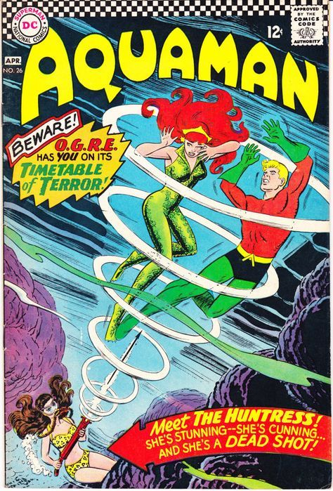 Aquaman 26, DC Comics, Aqualad, Mera, The Huntress. Nick Cardy art. A Silver Age comic book from 1966