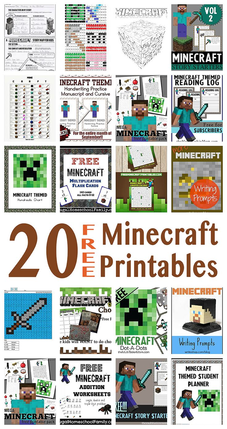 Free Minecraft Printables from our friends for Learning with Minecraft.