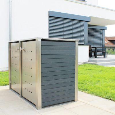 2er Mülltonnenbox Edelstahl Kunststoff Flachdach anthrazit