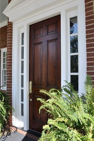 Traditional Front Door with Brick house, Pediment, Outdoor plant