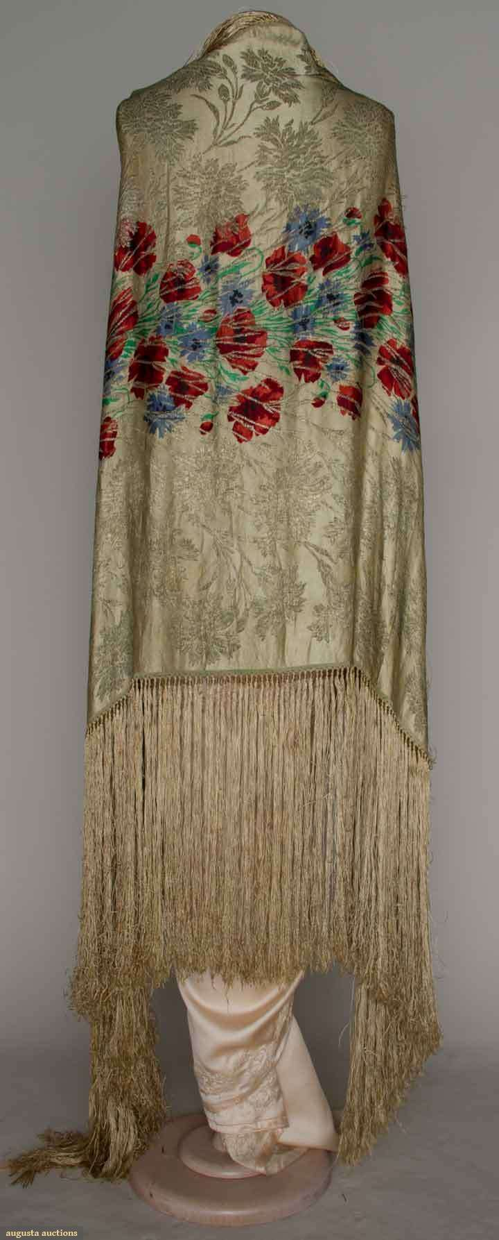 Printed Silk & Gold Lame Shawl, 1920s, Augusta Auctions, March 21, 2012 NYC, Lot 228