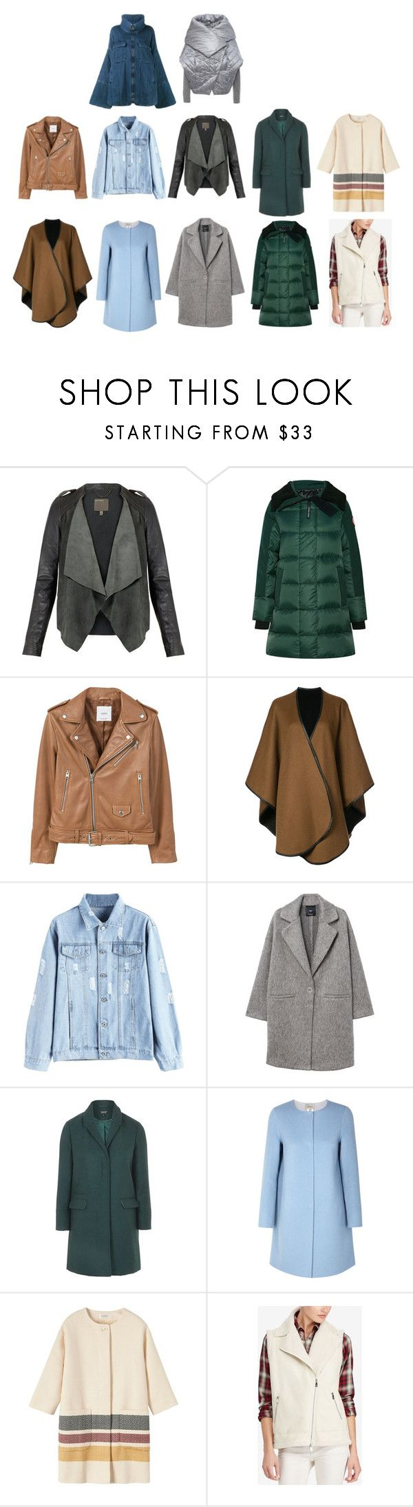 """Без названия #743"" by cute-and-red ❤ liked on Polyvore featuring Canada Goose, MANGO, Sofiacashmere, Topshop, Armani Collezioni, Toast, Lauren Ralph Lauren and Chloé"