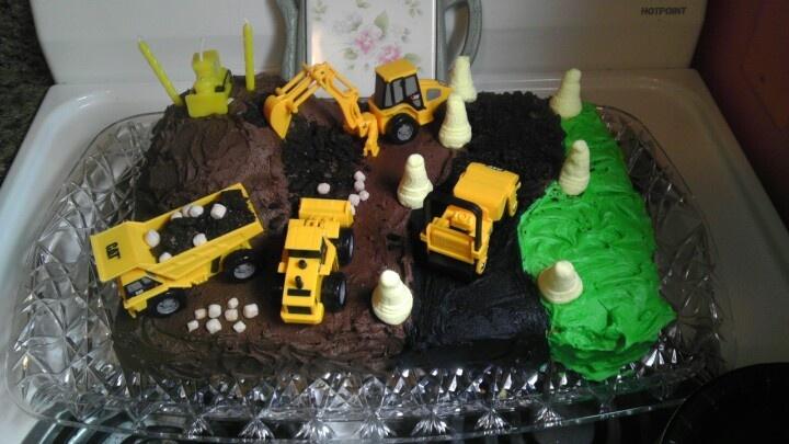 Construction birthday cake i used crushed oreos for the