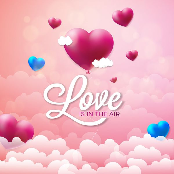 Valentine Heart Shape Balloon With Valentine Background And Cloud Free Vector Download Http Valentine Background Valentines Wallpaper Valentines Illustration