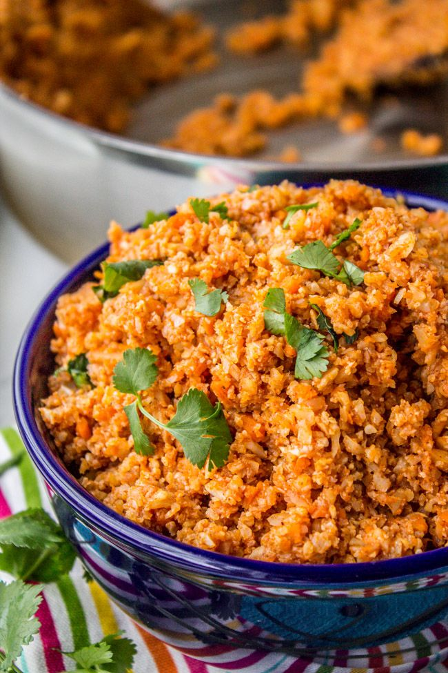This riced cauliflower is a great substitute for Spanish Rice! A great side dish for your Mexican food if you are trying to eat low-carb this January!