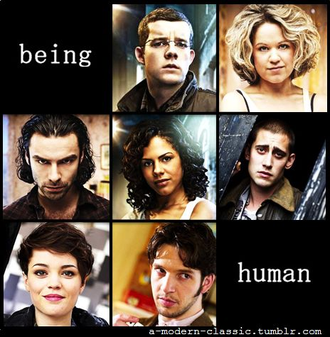 So, a werewolf, a ghost and a vampire decide to live like humans do. Being Human (UK)Series created by Toby Whithouse George Sands - Russell ToveyNina Pickering - Sinead KeenanJohn Mitchell - Aidan TurnerAnnie Sawyer - Lenora CrichlowTom McNair - Michael SochaAlex Mayhew - Kate BrackenHal Yorke - Damien Molony