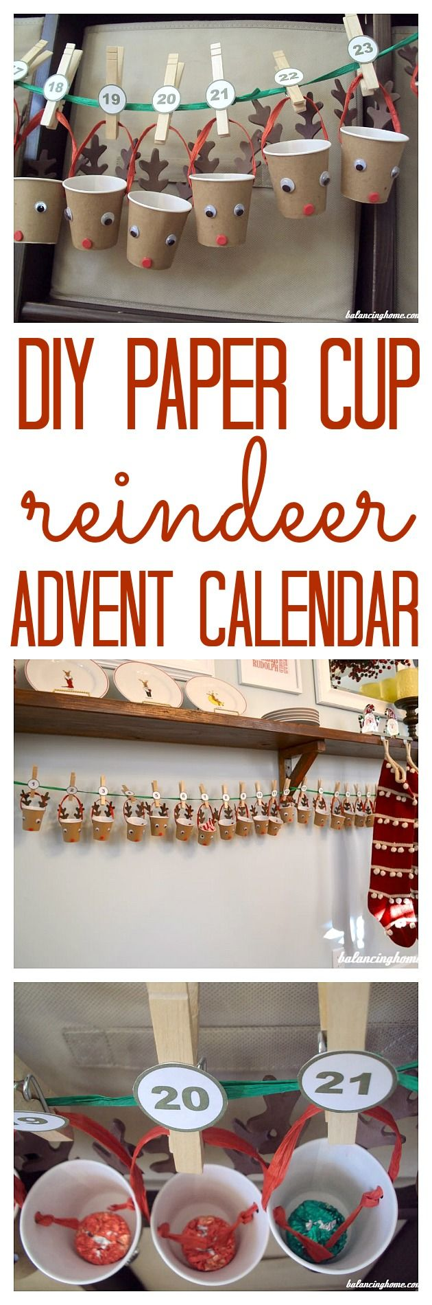 DIY paper cup reindeer advent calendar. Cheap, fun and easy for the kiddos to use.