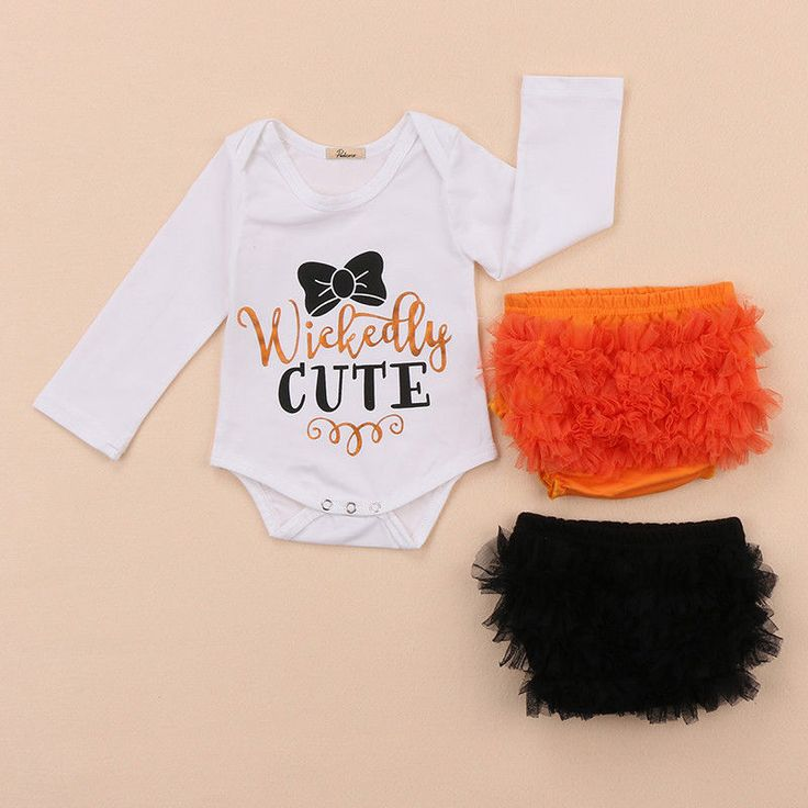 Newborn Baby Girls Wickedly Cute Halloween Rompers Ruffle Bloomer Outfits Set #halloween #baby #girls #wickedly #cute #newborn #Holiday #matching #twin #sister