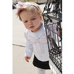 Girls Long Sleeve Tee - Bow - Love Henry $20.95