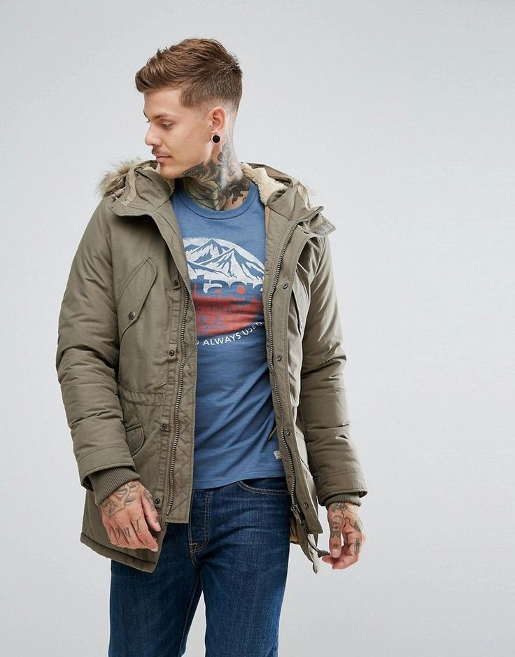 Click for more details. Worldwide shipping. Jack & Jones Vintage Parka With  Faux Fur and Borg Lined Hood - Green: Parka by Jack Jones, ...