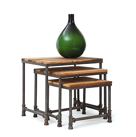 vintage industrial reclaimed wood iron nesting side tables