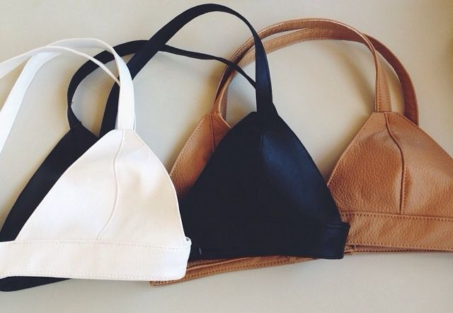 Leather bralette tops