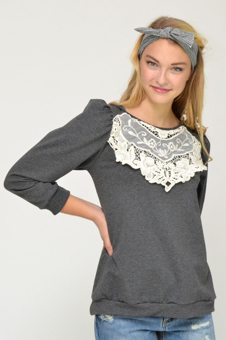 Dark Grey sweatshirt top with intricate cream lace detail at front and slight puff 3/4 sleeves.