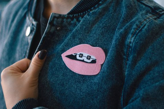Pink Brace Face Iron-on Embroidered Patch Lips by JazzelliDesigns