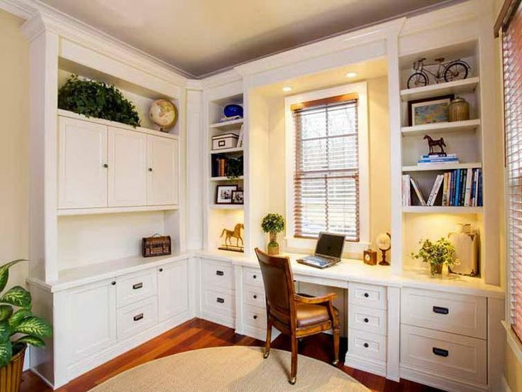Interior: Modern Small Home Office Design Ideas With L Shaped White Desk With Hutch And Storage Drawers Featuring Simple Wooden Desk And Modern Window Blinds, Luxury Home Office Interior Designs Inspirations. 600x450 pixels