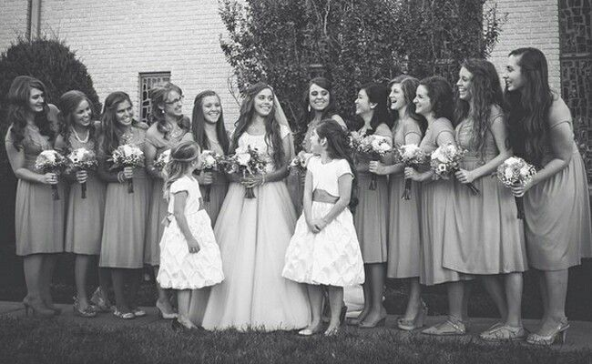 Jessa with her maid of honor Jinger and her bridesmaid Jill Dillard Jana Duggar Joy-Anna Duggar Danielle Seewald Michelle Seewald and some of her friends and then flower girls Jordyn-Grace Duggar & Faith Seewald