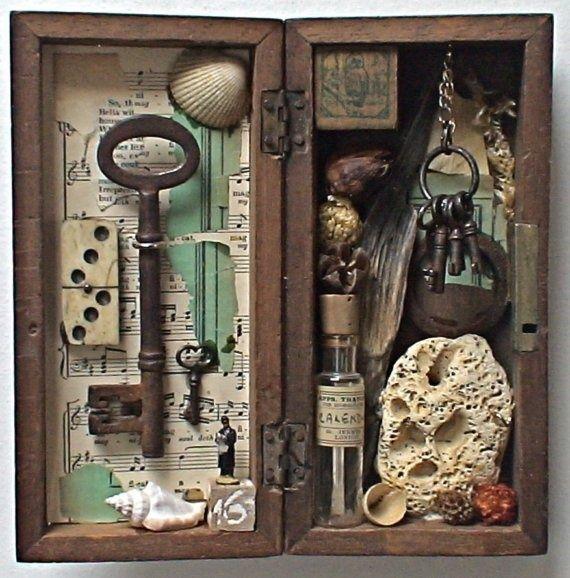 Make a shadow box from  a hinged BOX! - travel memorabilia?