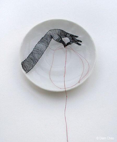 Porcelain plate (silk and thread) by diem chau #diemchau #porcelainplate