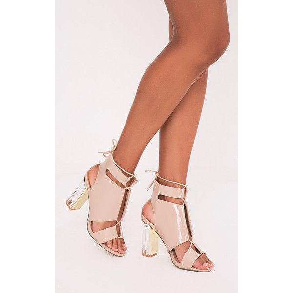 Kareen Nude Patent Panel Block Heels ($25) ❤ liked on Polyvore featuring shoes, pumps, pink, nude court shoes, nude patent leather shoes, nude patent leather pumps, block heel shoes and nude shoes