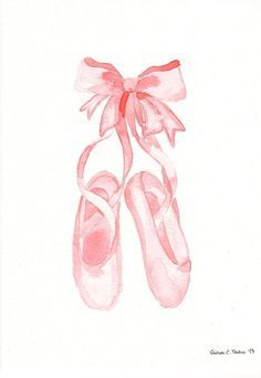 Original watercolor Painting Pink Ballet Shoes by MilkFoam