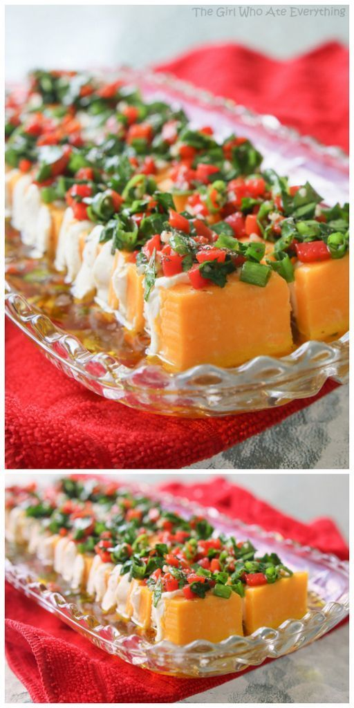 Marinated Cheese Appetizer - a colorful array of cheese topped with a vinaigrette and fresh herbs. {The Girl Who Ate Everything}